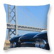 Black Cadillac In San Francisco Throw Pillow