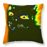 Black Cat 3 Throw Pillow