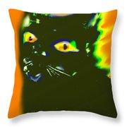 Black Cat 3 Throw Pillow