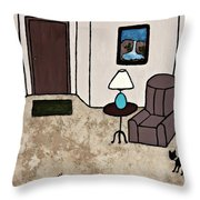 Essence Of Home - Black Cat Entering Living Room Throw Pillow