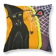 Black Cat In A Hat  Throw Pillow