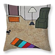 Essence Of Home - Black Cat In Living Room Throw Pillow