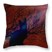 Black Cat In The Moonlight Throw Pillow