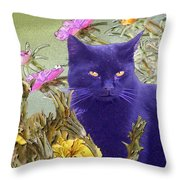 Black Cat Lurking In The Portulaca Throw Pillow