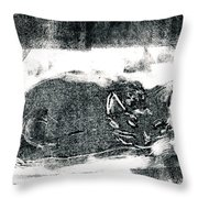 Black Cat Monoprint-2 Throw Pillow