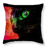 Black Cat Neon Throw Pillow