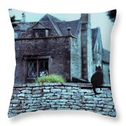 Black Cat On A Stone Wall By House Throw Pillow