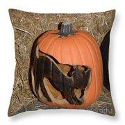 Black Cat On Pumpkin Throw Pillow