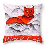 Black Cat Orange Throw Pillow