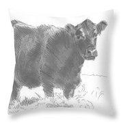 Black Cow Pencil Sketch Throw Pillow