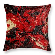 Black Cracks With Red Throw Pillow