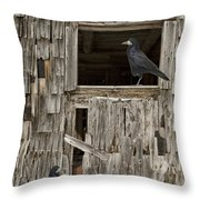 Black Crows At The Old Barn Throw Pillow