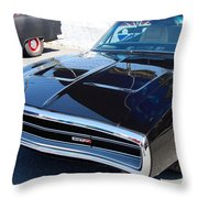 Black Dodge Charger Throw Pillow