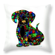 Black Dog 2 Throw Pillow