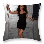 Black Dress Woman Throw Pillow