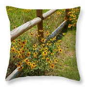 Black Eyed Susans In A Wildflower Meadow Throw Pillow