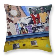 Black Family Reunion Mural Throw Pillow