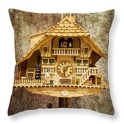 Black Forest Figurine Clock Throw Pillow