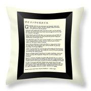 Black Frame Original Desiderata Poem Throw Pillow