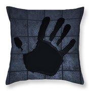 Black Hand Cyan Throw Pillow