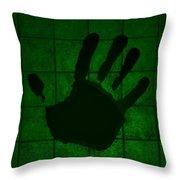 Black Hand Green Throw Pillow
