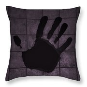Black Hand Pink Throw Pillow
