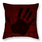Black Hand Red Throw Pillow