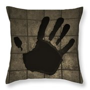 Black Hand Sepia Throw Pillow