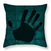 Black Hand Turquoise Throw Pillow