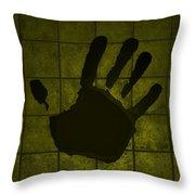 Black Hand Yellow Throw Pillow