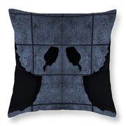 Black Hands Cyan Throw Pillow