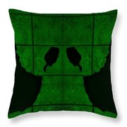 Black Hands Green Throw Pillow
