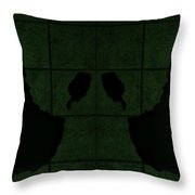 Black Hands Olive Green Throw Pillow