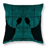 Black Hands Turquoise Throw Pillow