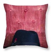 Black Hat On Red Velvet Chair Throw Pillow
