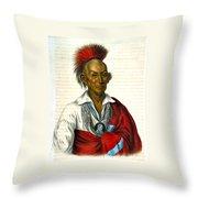Black Hawk Saukie Brave 1883 Throw Pillow