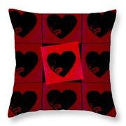 Black Hearts Throw Pillow