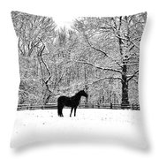 Black Horse In The Snow Throw Pillow