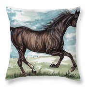 Black Horse Running Throw Pillow