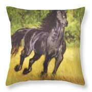 Black Horse Throw Pillow