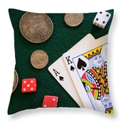 Black Jack And Silver Dollars Throw Pillow