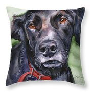 Black Lab In Watercolor Throw Pillow