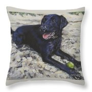 Black Lab On The Beach Throw Pillow