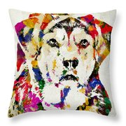 Black Lab Watercolor Art Throw Pillow