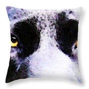 Black Labrador Retriever Dog Art - Lab Eyes Throw Pillow by Sharon Cummings