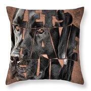 Black Labrador Typography Artwork Throw Pillow