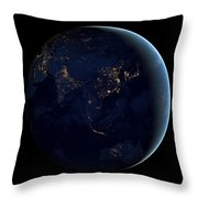 Black Marble - Asia And Australia City Lights Throw Pillow