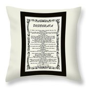 Black Matted Celtic Desiderata Poster Throw Pillow