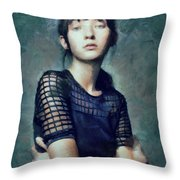 Black On Blue  Throw Pillow