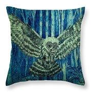 Black Owl On Blue Night Throw Pillow